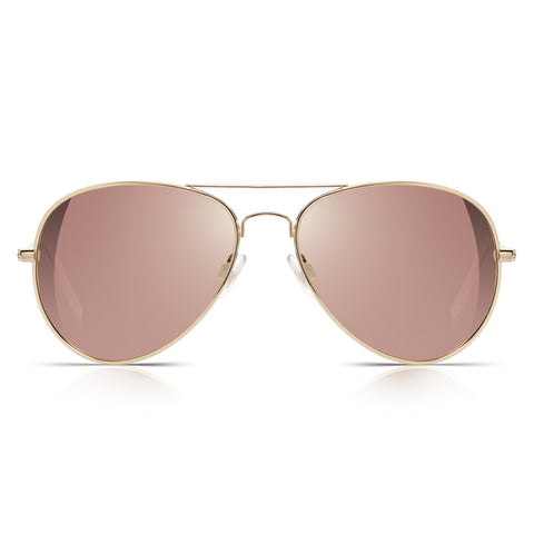 Sunglassjunkie Rose Gold Top Gun Aviator Sunglasses