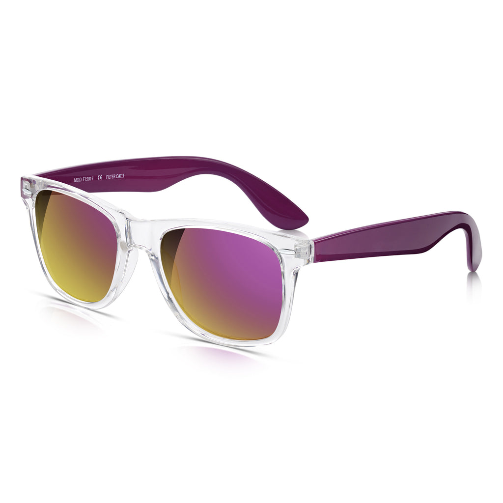 Sunglassjunkie Crystal & Purple Festival Wayfarer Mirror Sunglasses