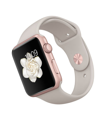 Apple Watch Sport 42 mm Aluminumhülle Stone Sportarmbund MLC62 (Rose Gold)