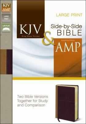 KJV and Amplified Side-by-side Bible: King James Version / Amplified, Camel / Rich Red, Italian Duo-Tone