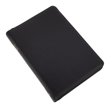 Medium print Bible without references. Black calfskin leather, with thumb index and zip. Authorised (King James) Version.