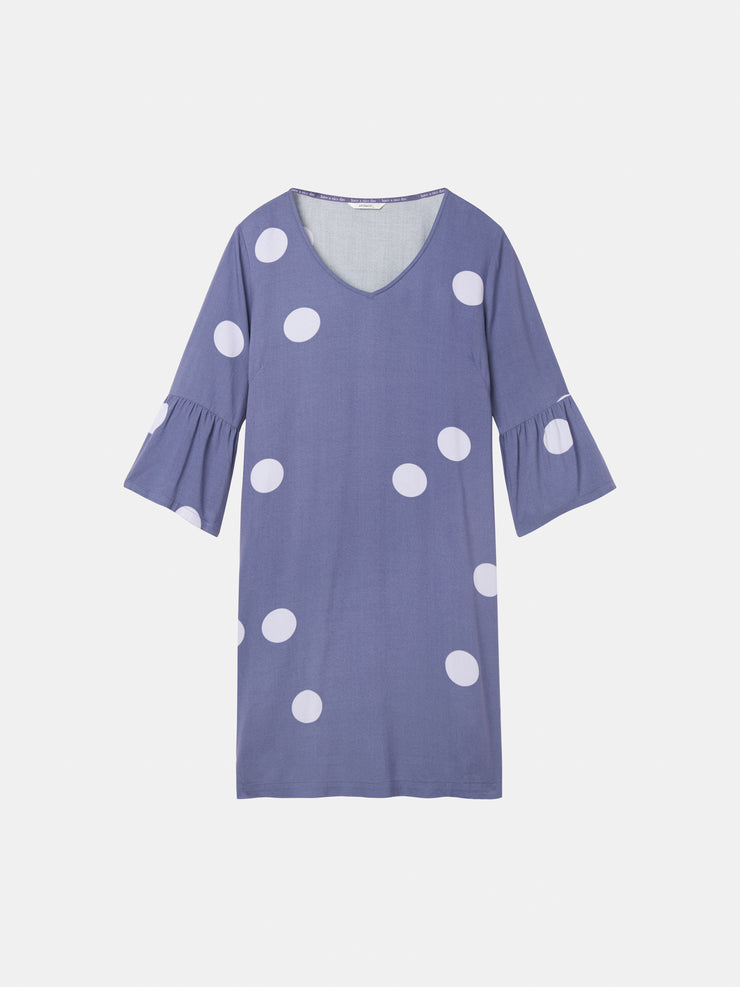 Polka dot dress with trumpet sleeves
