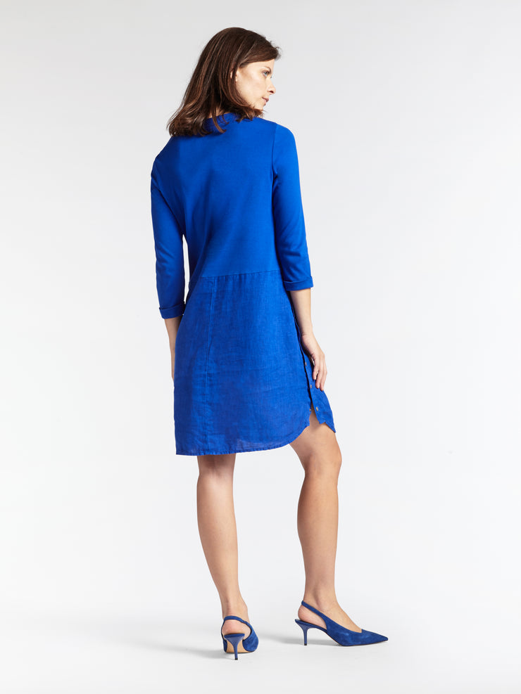 Linen Mix V-Neck Dress