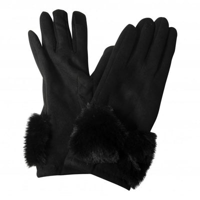 GLOVES WITH FAKE FUR BOW
