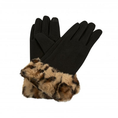 BLACK GLOVES WITH FAKE FUR CUFF
