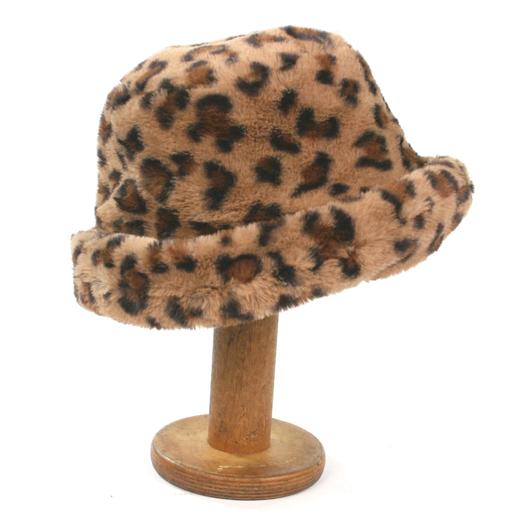 Faux Fur Hat Animal Print