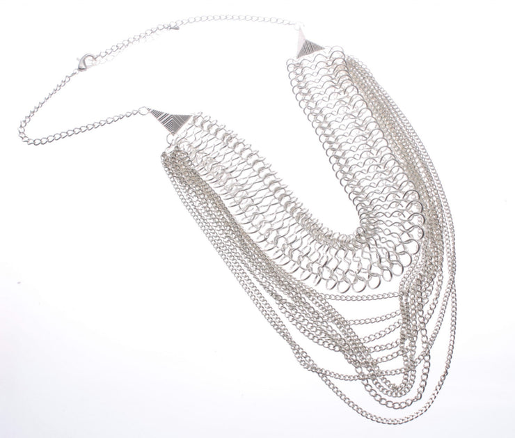 Multi Strand Statement Short Silver Necklace