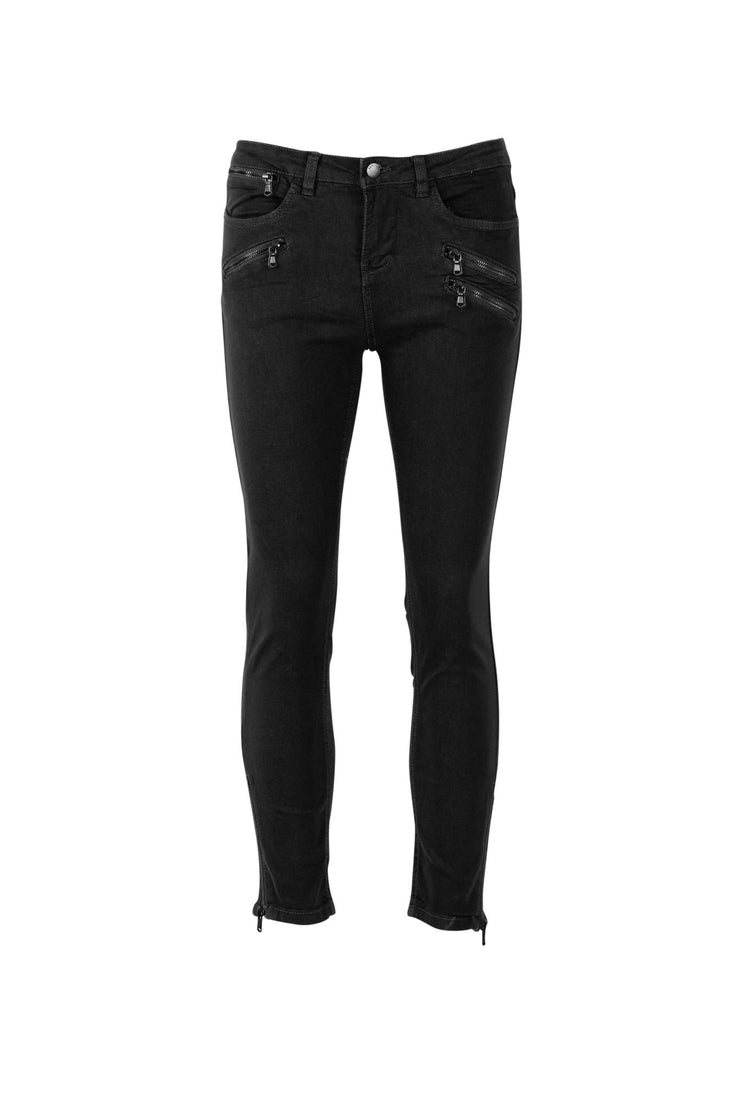 Cropped Jeans with Zippers