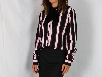 Striped Blouse With Bow Tie