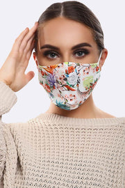 Floral White Rose Print Cotton Face Masks