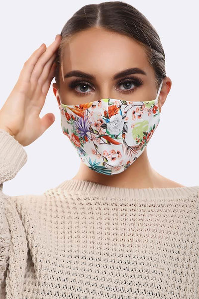 Floral White Rose Print Cotton Face Mask