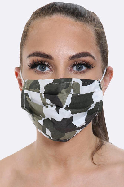 Pleated Camou Printed Face Mask