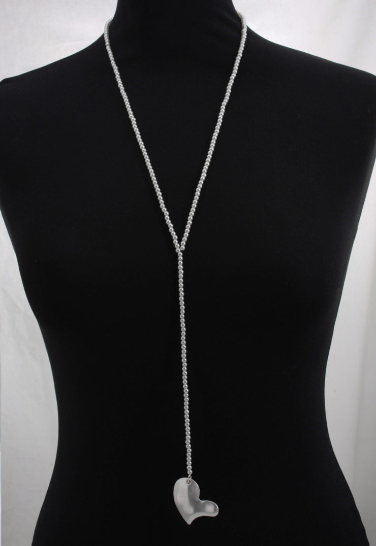 Long Lariat Pendant Necklace with large Abstract Heart