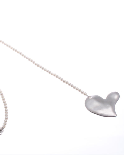 Long Lariat Pendant Necklace with large Abstract Heart NK247
