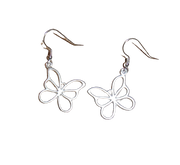 Long Drop Butterfly Earrings in Silver ER098