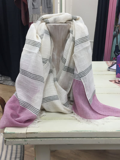 Cream & Pink Stripe Woven Scarf