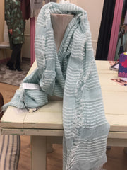 Mint Green Striped Scarf