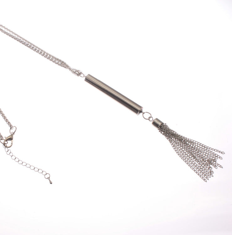 Long Pendant Necklace with Chain Tassel