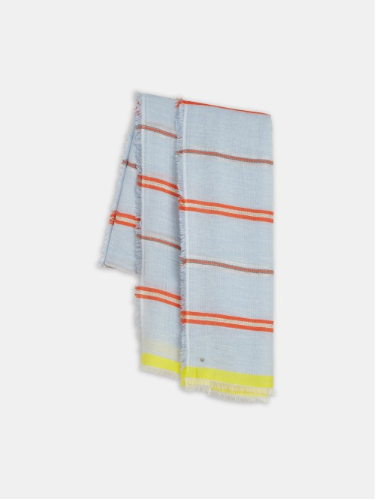 Fine scarf with multicoloured stripes