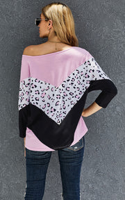 Pink/Black Animal Print Top