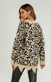 Natural Animal Print Sweater with tassels