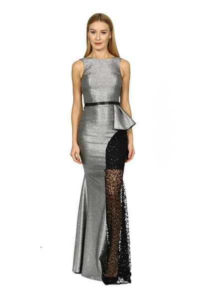 Metallic Grey Maxi Dress with Belt and Lace Detail