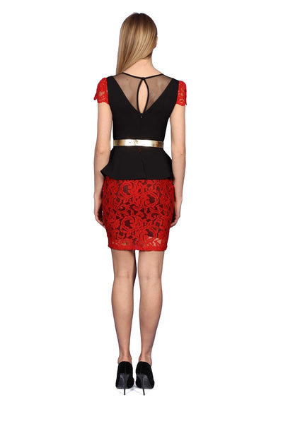 Black and Red Cocktail Dress with Cap Sleeves and Metallic Gold Belt