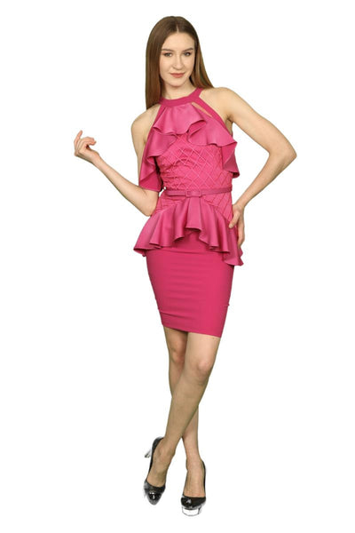 Pink Cocktail Dress with Ruffles and Symmetric Peplum