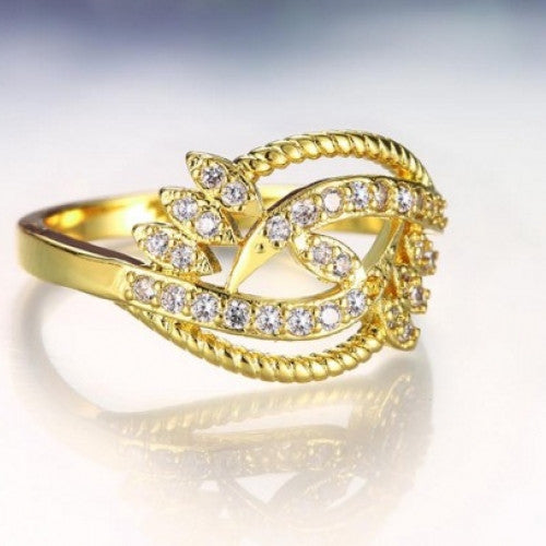 Fashion White Plated Zircon Ring