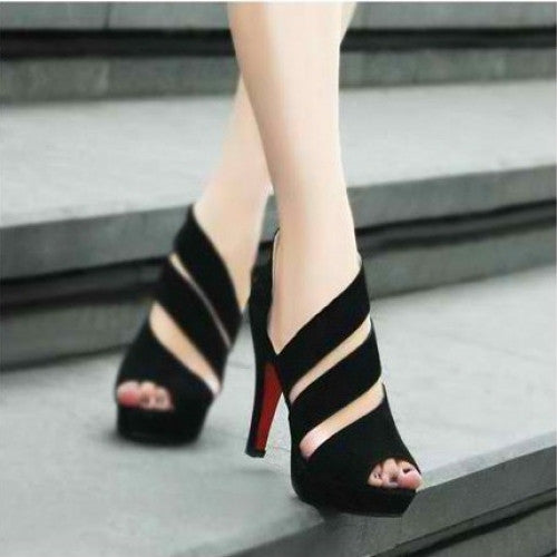 Zip Cut-outs Ladies High Heels Peep Toe