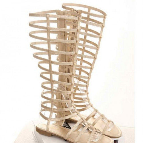 Knee High Gladiator Sandal Hollow Flat Heel