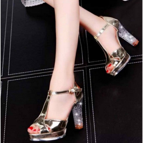 Soft Leather Fashion Summer Shoes Thick Heel