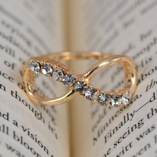 Fashion Jewelry 8 Infinity with Crystal Ring