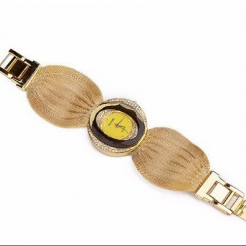 Unique Design Full Golden Alloy Dress Wristwatch