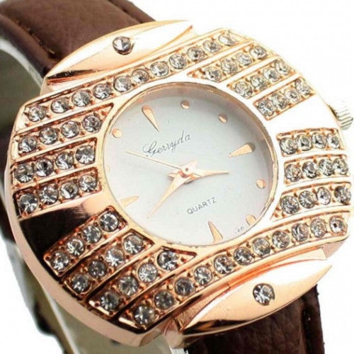 Decor Crystal Fashion Leather Belt Watch