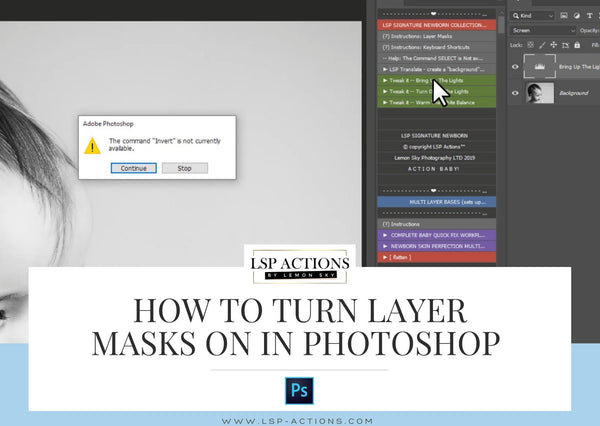 turn on adjustment layer masks in photoshop invert not currently available
