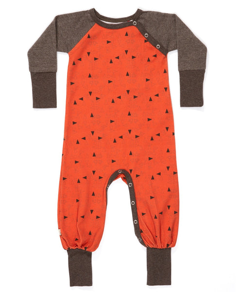 Albababy rust triangle Hedigby romper