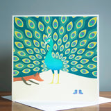 A.H.A Design the fox and the peacock greeting card