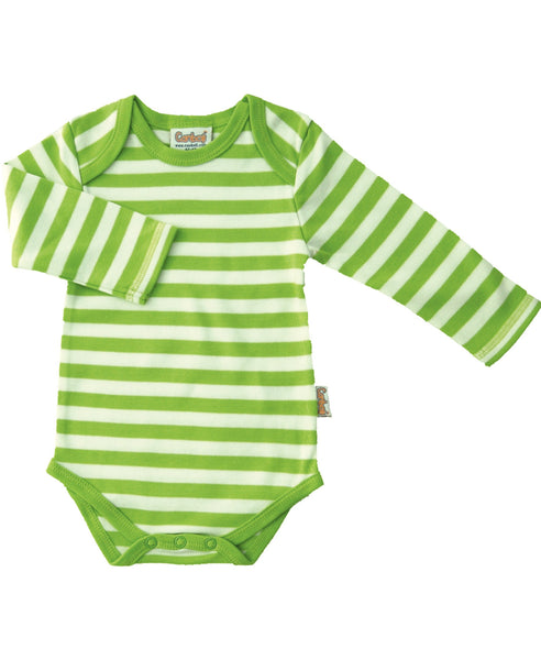 Canboli green striped baby vest