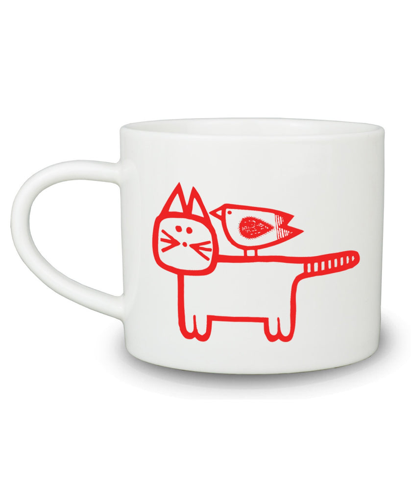 Jane Foster red cat and bird mug