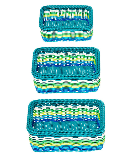 set of 3 Kitsch Kitchen blue storage baskets