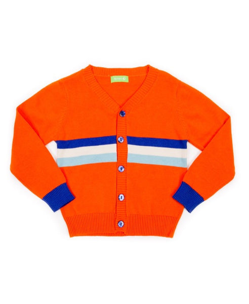 Lily Balou organic retro orange Marcel child's cardigan