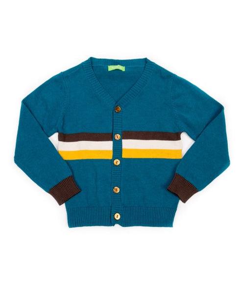 Lily Balou retro petrol blue Marcel child's cardigan