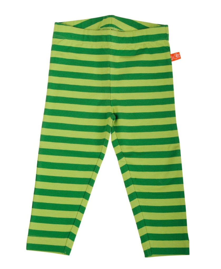 Lipfish unisex organic green stripe children's leggings
