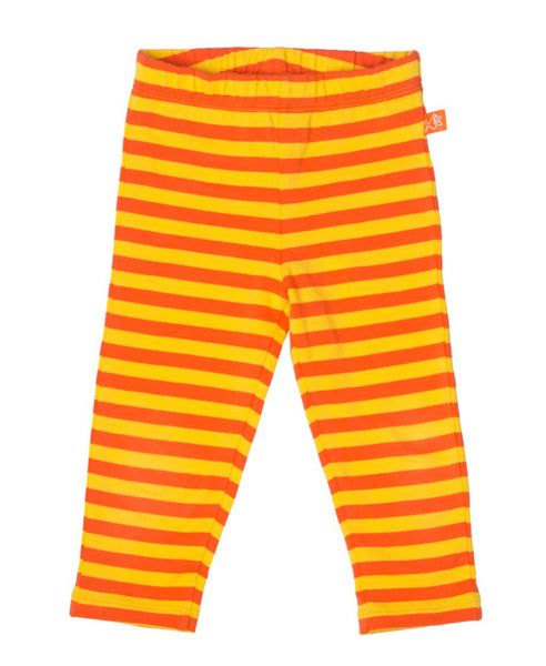 Lipfish unisex organic orange and yellow stripe children's leggings