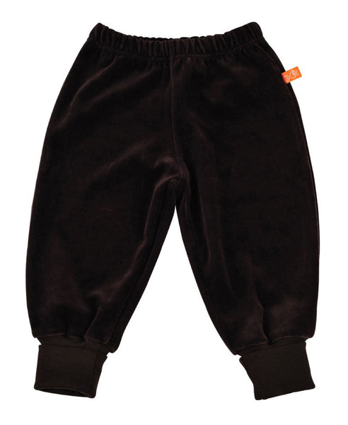 Lipfish dark brown unisex kids' velour trousers