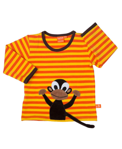 Lipfish kids' organic unisex orange stripe monkey top