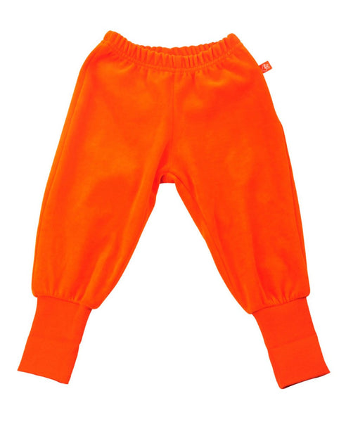 Lipfish unisex kids' orange velour trousers