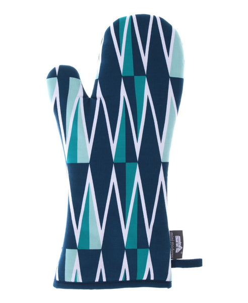 Mini Moderns blue jacquet oven glove