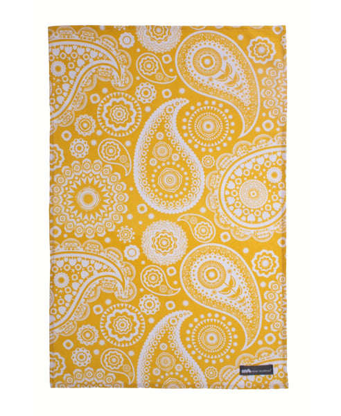 Mini Moderns yellow paisley tea towel